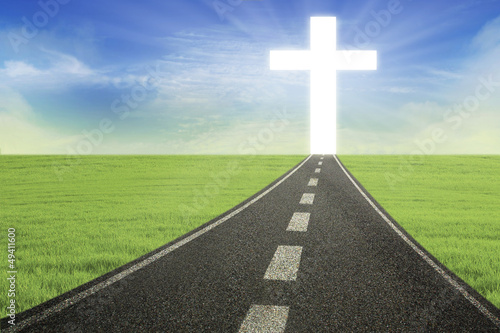 Bright Cross on road horizontal