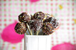 Chocolate cake pops with colorful sprinkles
