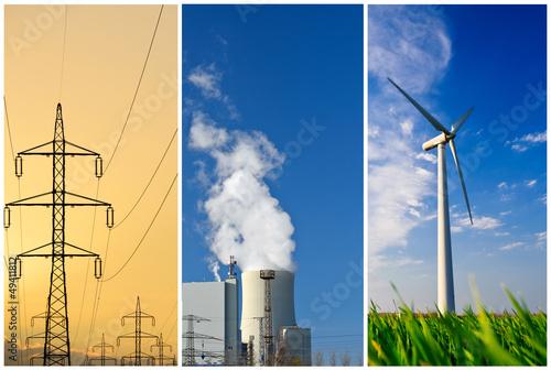 canvas print picture Energieerzeugung Collage