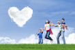 Happy family and love clouds
