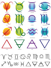 Zodiac and elements sign and symbol set