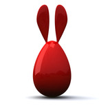 Red blank Easter egg with rabbit ears, 3d image