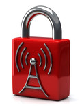 Red closed padlock with wireless icon, 3d
