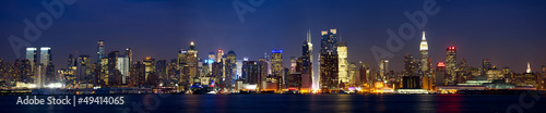 Manhattan skyline panorama at dusk, New York City