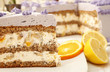 Piece of purple fruit cake with almonds