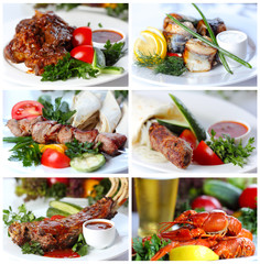 Collage from photographs of hot meat and fish dishes