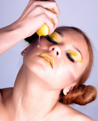 Girl with yellow visage
