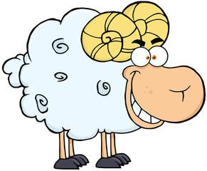 Happy Ram Cartoon Mascot Character
