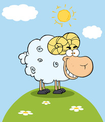Happy Ram Cartoon Mascot Character On A Hill