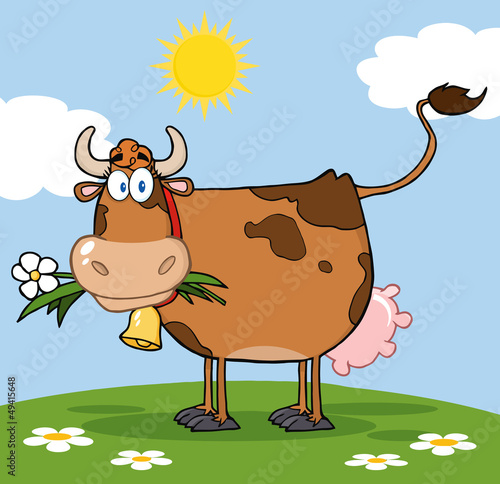 Foto op Canvas Boerderij Brown Dairy Cow With Flower In Mouth On A Meadow