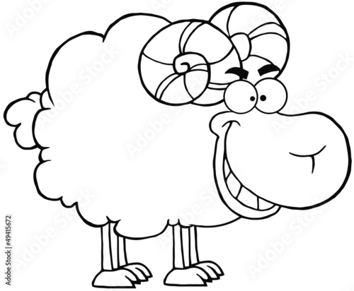 Outlined Happy Ram Cartoon Mascot Character