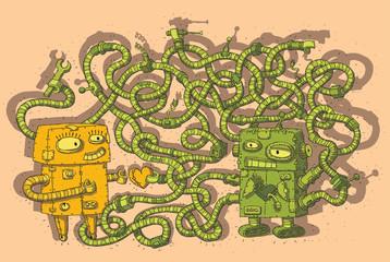 Robots in Love Maze Game