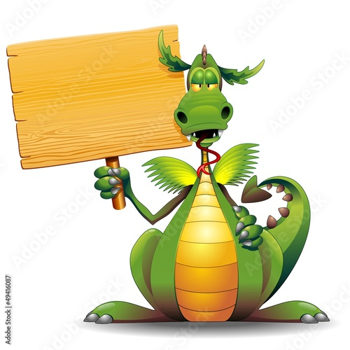 Dragon Cartoon with Wooden Panel-Drago Buffo con Pannello