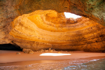 Famous cave at Benagil beach in Algarve Portugal