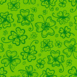 Green clovers seamless pattern for Saint Patrick's Day