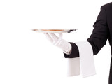 Fototapety Professional waiter holding an empty dish. Isolated on white bac