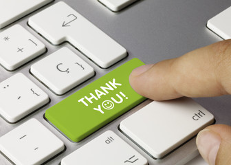 Thank You! keyboard key. Finger