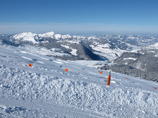 View from the ski area Toggenburg, mountains