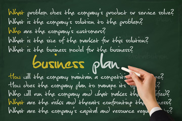 Business plan concept hand sketched on a blackboard