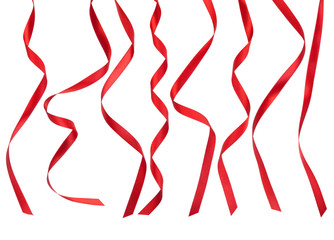 Red ribbons isolated on white background