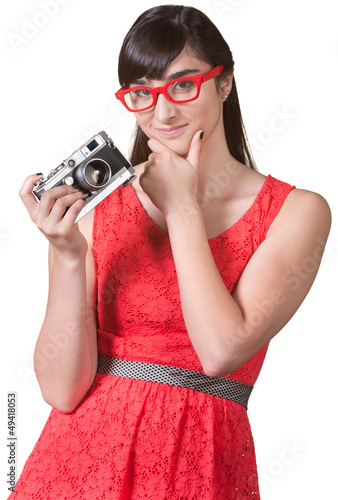 Pensive Woman with Camera