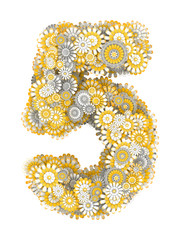 Number 5, from camomile flowers