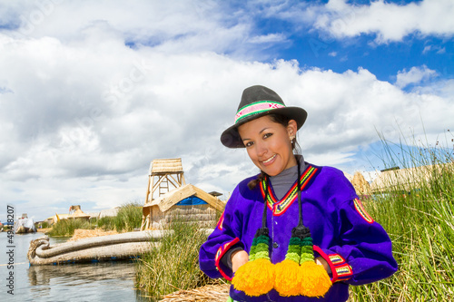 Woman in traditional indigenous clothing, Peru