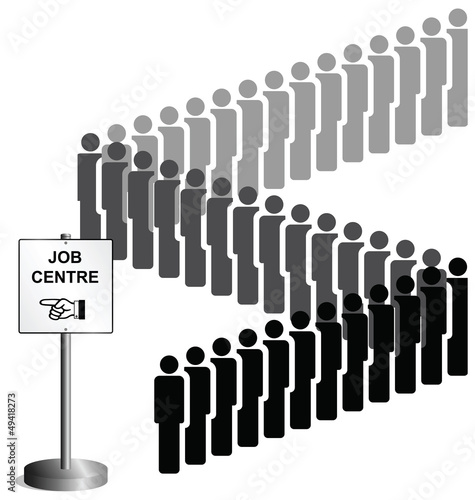 people queuing at a job centre sign