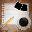 Blank book with coffee and photo frame vector illustration on bu