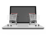 Laptop and Shopping Carts