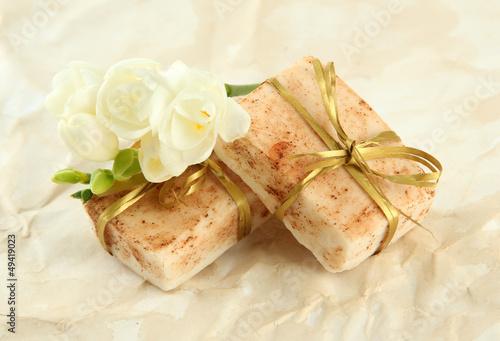 Natural handmade soap, on beige background