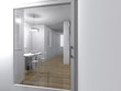 modern room interior threw a door