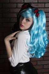 Alternative female wearing a wig.
