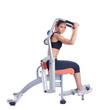 woman posing on orange hydraulic exerciser