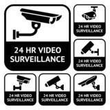 CCTV labels. Set symbols video surveillance, vector illustration