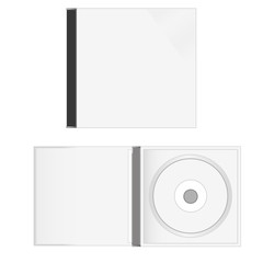 White blank cd cases and disc in vector