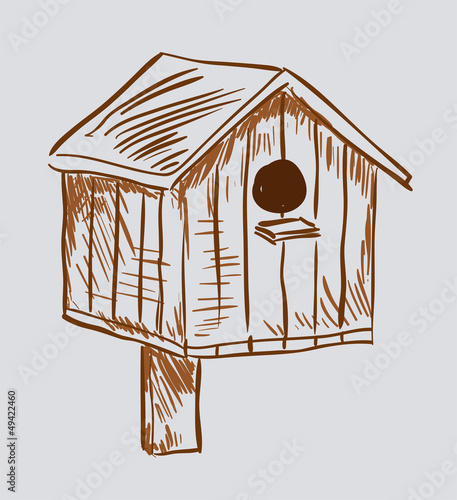 Nest box birdhouse. Style vector