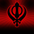 Sikh Symbol - Red Black Burst