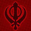 Sikh Symbol - Red Halftone background