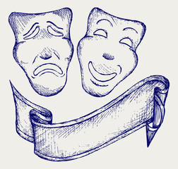 Comedy and tragedy theater masks. Doodle style