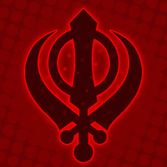 Sikh Symbol - Red Halftone background