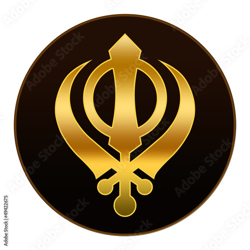 Sikh Symbol - Golden symbol in dark background