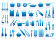 Icons of kitchen ware, utensils and tools