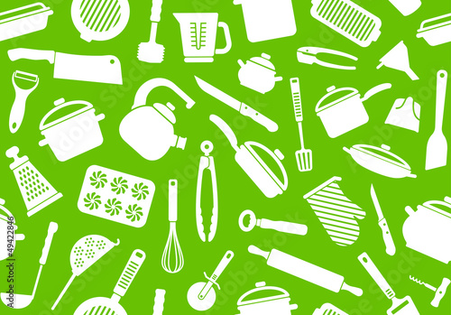 Seamless background from kitchen ware and utensils
