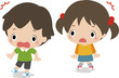 驚く小さな男の子と女の子