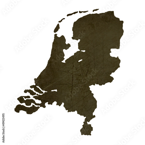 Dark silhouetted map of Netherlands
