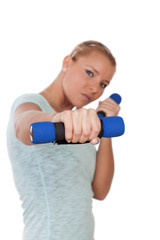 Woman working out with barbells