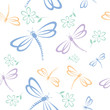 Seamless pattern with dragonfly and flower