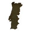 Dark silhouetted map of Portugal
