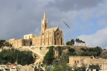 View of Our Lady of Lourdes church in Mgarr (Malta)